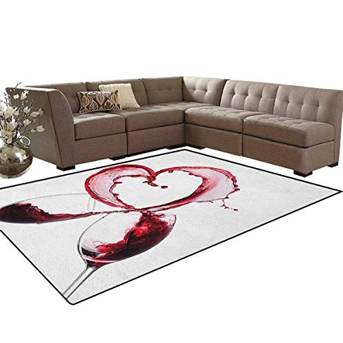 Wine,Rug,Heart with Spilling Red Wine in Glasses Romantic Love Valentines Day Concept,Perfect for Any Room Floor Carpet,Burgundy White Pink Size:5'x8'
