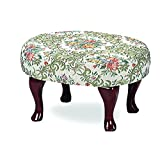 Coaster Home Furnishings Queen Anne Style Footstool with Floral Damask Covered, Cherry Finish
