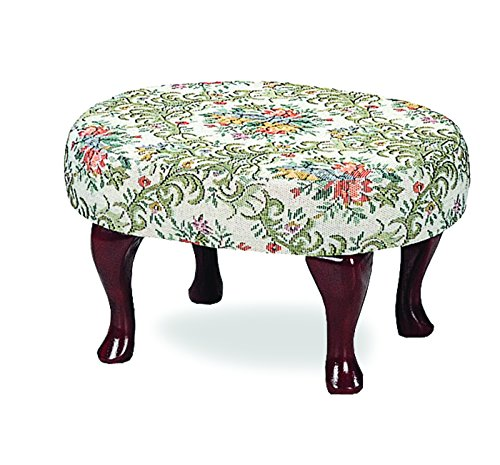 Upholstered Foot Stool with Shapely Legs Merlot - Cherry Upholstered Ottoman