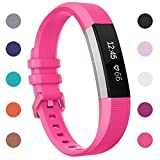 Fitbit Alta HR Bands Small Hot Pink, Henoda Soft Silicone Replacement Wristband Accessories with Secure Metal Buckle Clasp for Fitbit Alta HR Sport Smart Watch