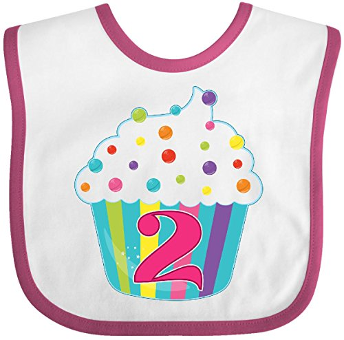 Inktastic - 2nd Birthday cupcake Baby Bib (White Raspberry Cakes)
