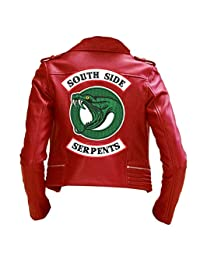 The Sparks Up Inc. Riverdale Southside Serpents Embroidery Red Faux Leather Jacket