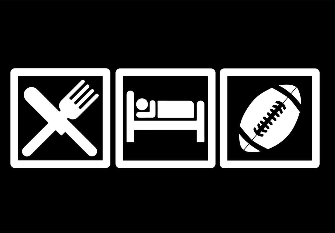 CMI DD601 Eat Sleep Football Decal Sticker   7.5-Inches by 2.5-Inches   Premium Quality White Vinyl