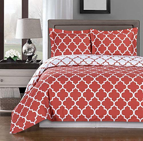 Coral and White Meridian King / Cal-king 3-piece Duvet-Cover-Set, 100 % Cotton 300 TC