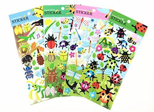 Alimitopia Foam Craft Stickers,Self-Adhesive Decorative Paster Decals for Kids' Scrapbooking or Card Making(Insect World,4 sheets,about 100pcs) (Style 1#) -