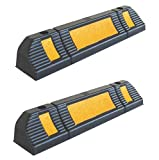 "Parking Stopper for Garage Floor, Blocks Car Wheels as Parking Aid and Stops the Tires, acting as Rubber Parking Curbs that Protect Vehicle Bumpers and Garage Walls, 23.6""x4.7""x3.9"" (Pack of 2)"