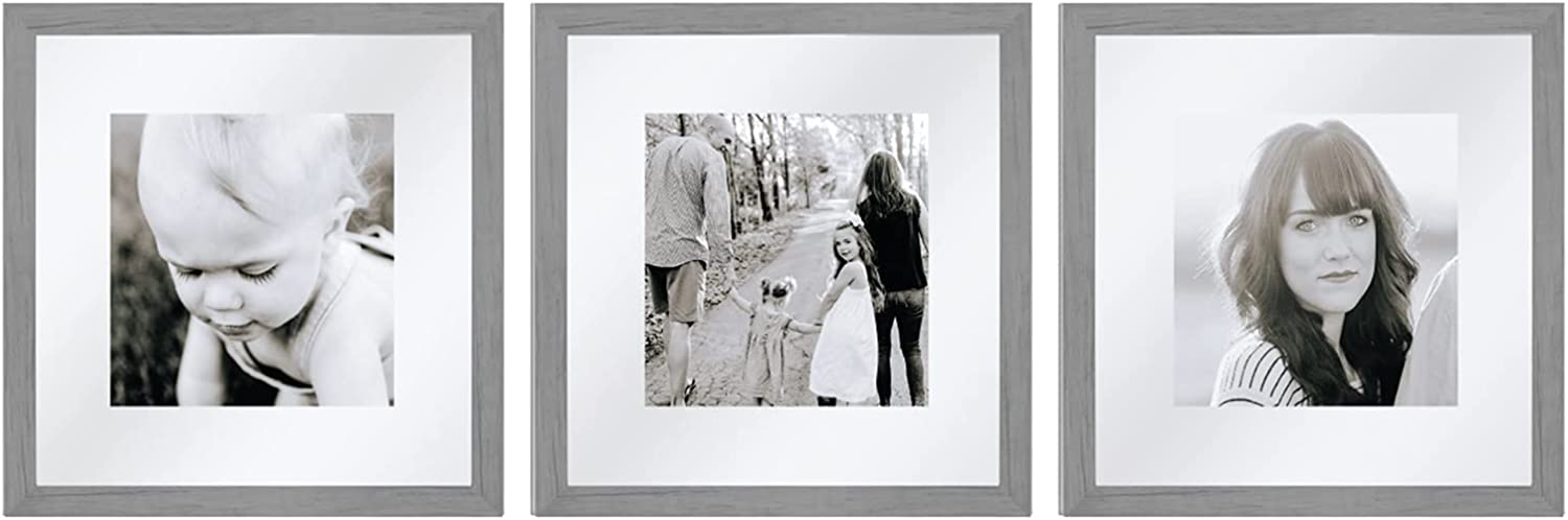 Sheffield Home Decor Collection- 3 Piece Picture Frame Set, Gallery Set, 12x12in, Floating to 8x8in (Grey)
