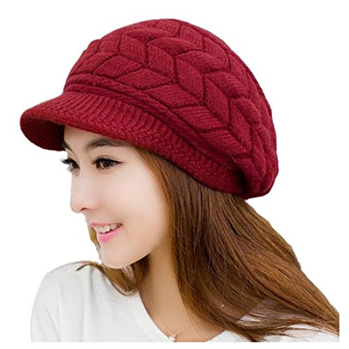 Warm Knit Hats Caps Wool Snow Ski Cap Beanie Ski Berets Snapback Caps With Visor (Red) ()