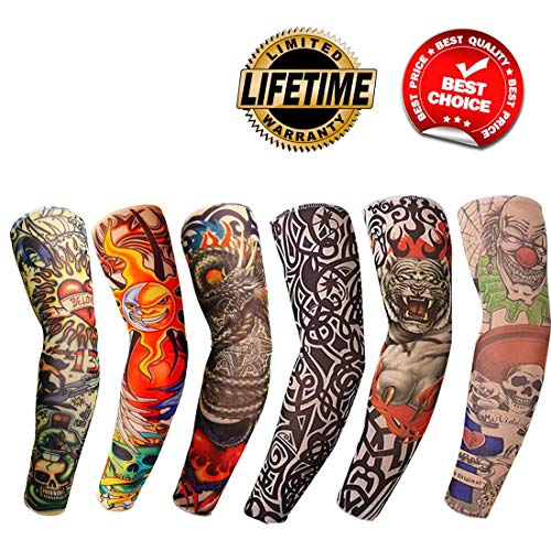 (Tattoo Arm Sleeves 6PCS Fake Temporary Arm Tattoo Cover Up Sleeves Body Art Arm Stockings Slip Accessories for Men Women Designs Tribal, Crown Heart,Dragon, Skull Unisex Stretchable Cosplay Accessorie)