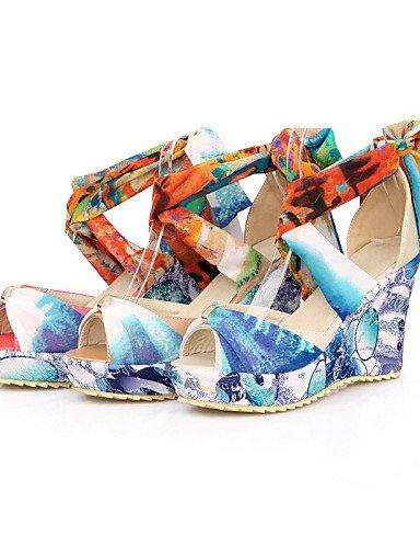LFNLYX Zapatos de mujer-Tacón Cuña-Punta Abierta-Sandalias-Vestido / Casual-PU-Rojo / Beige / Almendra Red