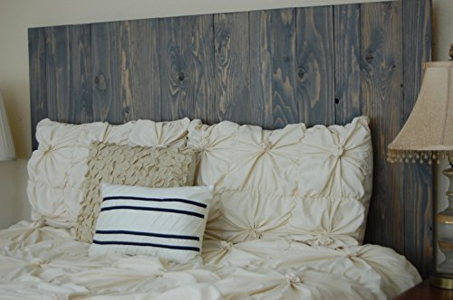 Floating Bed Panel (Classic Gray Oil Based Stain Finish - Queen Hanger Headboard with Vertical Boards. Mounts on Wall.)