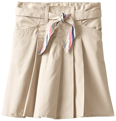 U.S. Polo Assn. School Uniform Big Girls' Twill Scooter with Reversible Dot Print Belt, Khaki, 10 (Print Reversible Skirt)