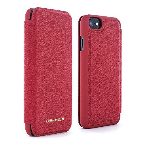 Official Karen Millen Folio protective Case / Cover with Card Slot for iPhone 7 / 6 – Goji Berry - Karen Designer Millen