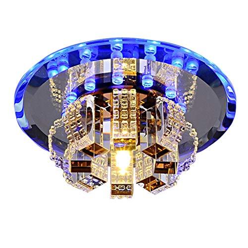 ASHENG Plafonnier Rond de Lustre en Cristal Moderne pour Chambre, Salle de Bains, Style de Salle à Manger  Montage en Surface - Sept Couleurs