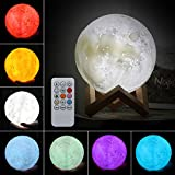ELEOPTION 3D Printing LED Moon lamp with Stand Colorful Baby Night Light Nursery Night Lamp Decorative Lights Table Ball Lamps with Remote Control Brightness USB Charging and Wood Stand Base