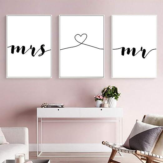 Nordic Ideas Set de 3 Posters Mr et Mme Citation Murale Chambre Tableaux  Décoration Peinture sur Toile Affiche Noir et Blanc Motivation Poster Deco  ...
