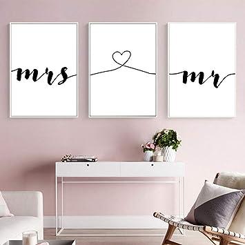 Nordic Ideas Set de 3 Posters Mr et Mme Citation Murale Chambre ...