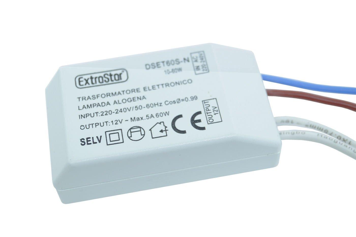 /240/V takestop/® Trafo elektronisch et60sn f/ür Halogenlampe 10/ /60/W 5/A Output 12/V mit Draht in AC 220/