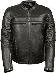 Event Biker Leather Men's Split Leather Vented Scooter Jacket (Black, XX-La