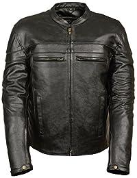 Event Biker Leather Men's Split Leather Vented Scooter Jacket (Black, XX-Large)