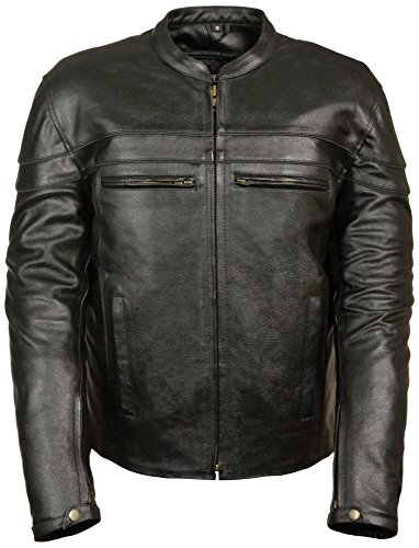Event Biker Leather Men's Split Leather Vented Scooter Jacket (Black, Large)