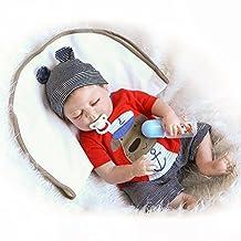 HerIn Lifelike Reborn Baby Doll, Lovely Simulation Smile Full Vinyl Silicone Boy Toys Bath Playmates 23 Inch
