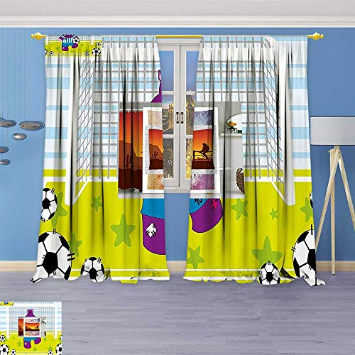 2 Panel Set Digital Printed Window Curtains,Cute Hippopotamus Soccer Goal Keeper Football Cartoon Print Apple Green Baby Blue Purple for Bedroom Living Room Dining Room (Soccer Keeper Control)