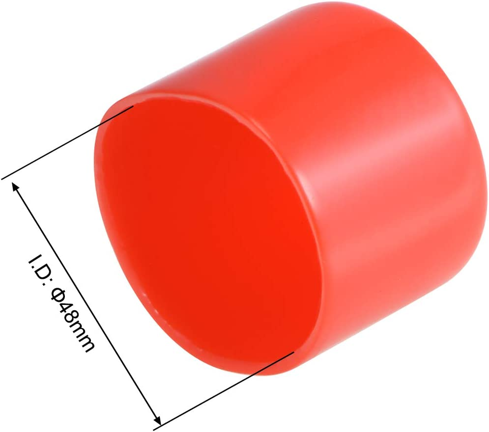 uxcell 8pcs Rubber End Caps 40mm ID Vinyl Round End Cap Cover Screw Thread Protectors Red