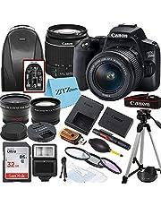 Canon EOS 250D / Rebel SL3 DSLR Camera with EF-S 18-55mm Lens + SanDisk 32GB Memory Card + Tripod + Case + Wideangle Lenses + ZeeTech Accessory Bundle (20pc Bundle)