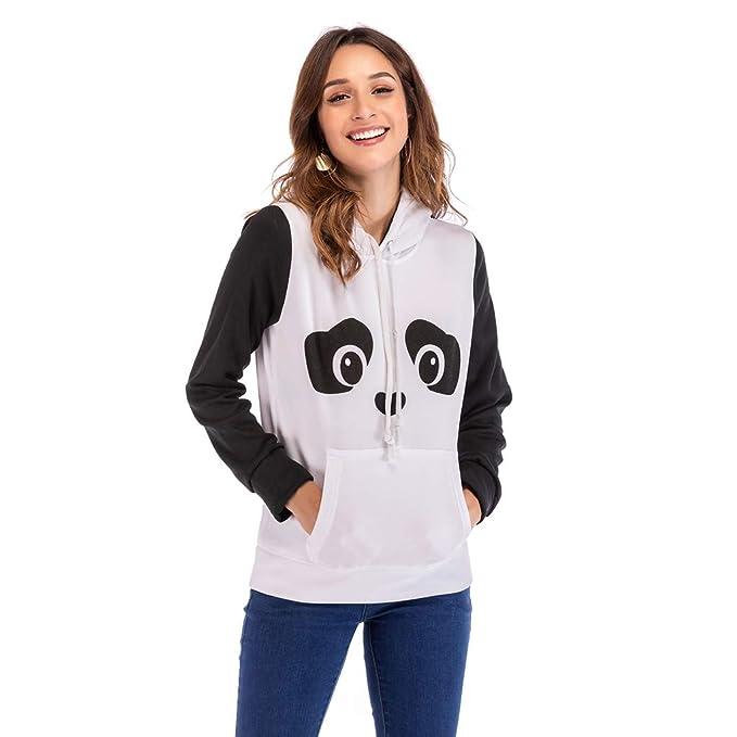 Sudadera con Capucha para Mujer Lindo Panda impresión Casual Manga Larga suéter Tops Blusa para Las