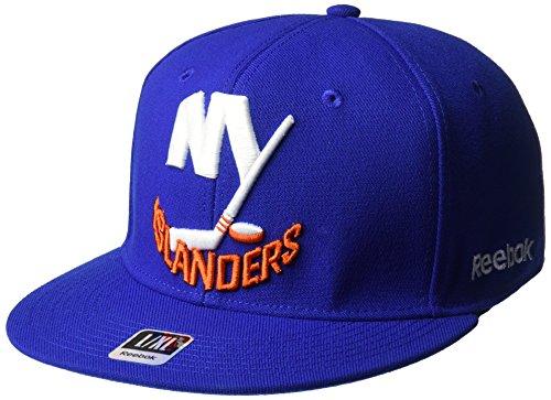 NHL New York Islanders Men's SP17 Oversized Logo Flat Visor Flex Cap, Blue, Large/X-Large - New York Islanders Visor