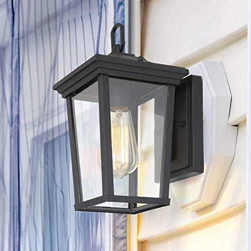 LALUZ Outdoor Wall Sconce Exterior Light Fixtures with Clear Glass for Entryway, Yards, Front Porch, A03278S,