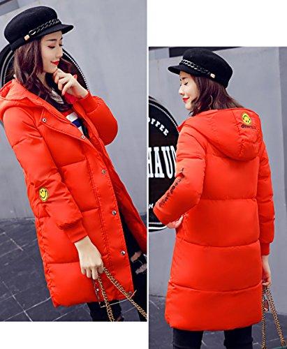 Ladies Bigood Coat Thick Hooded Jacket Women's Puffer Korean Down Long Orange Winter gqqpT7BrO