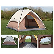 Luxe Tempo Instant 4 Person Tent Automatic Setup Car Camping Shelter Easy fit King Size Mattress for Family With 2 Full Doors