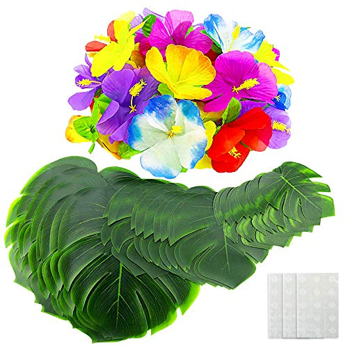 EOOUT 72pcs Hawaiian Party Decorations - 36Pcs Tropical Artificial Palm Leaves?3 Sizes? and 36Pcs Hawaiian Luau Flowers with 36Pcs Double Sided Dots of Glue