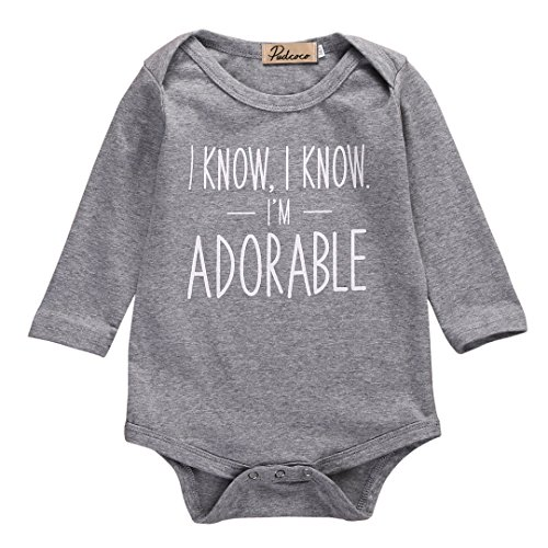 """Ma&Baby Newborn Baby Boy Girl's """" I am Adorable"""" Printed Romper Jumpsuit Outfits"""