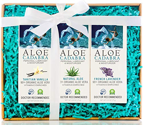 Aloe Cadabra Organic Personal Lubricant & Natural Moisturizer, Best Holiday Gift Box for Her and Him, Variety Pack of Lubes