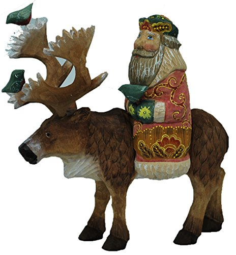 Russian Hand Carved and Painted Wooden Santa riding moose, artist signed