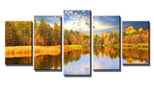 Wieco Art - Modern Stretched and Framed 5 Piece Giclee Canvas Prints Artwork The Autumn Forest and Lake Landscape Pictures Photo Paintings on Canvas Wall Art for Living Room Bedroom Home Decorations