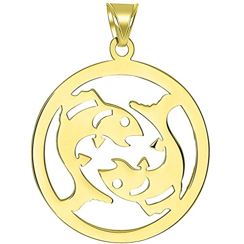 (Solid 14k Yellow Gold Round Pisces Zodiac Symbol Cut-Out Fish Pendant)