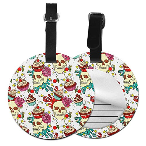 - Cruise Tags Etag Luggage Bag Tags With Adjustable PVC Loop Skull Cupcake Bags & Baggage Tags Luggage Tags For Women Men - Personalized Suitcase Tag Lables