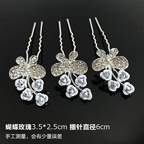 (OLIJU Diamond Plate Hairpin Fixed Valentine Gift Girls Princess Scalp Hair Styling Clip Jewelry Popular us Children's Fashion tie (Butterflies White Hair Plug)