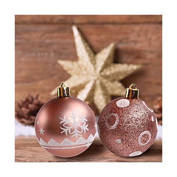 Pveath - Palline decorative, multicolore, infrangibili, per feste di matrimonio e Natale, 6 cm, 24 pezzi Oro rosato 5 spesavip