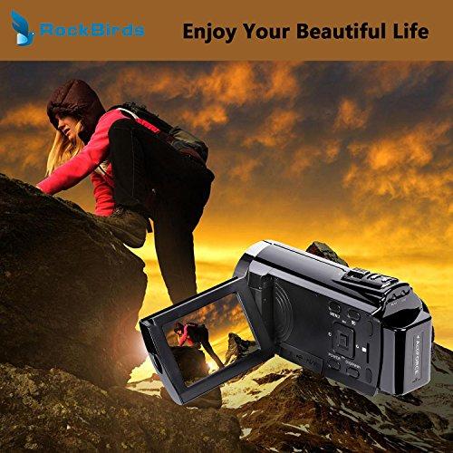 Camcorders, RockBirds HDV-5052STR Digital Video Camera HDMI 1920x1080p Portable FHD WIFI Camera, Night Vision 30FTPS Video Camcorder with Touchscreen, 16X Digital Zoom(Black)