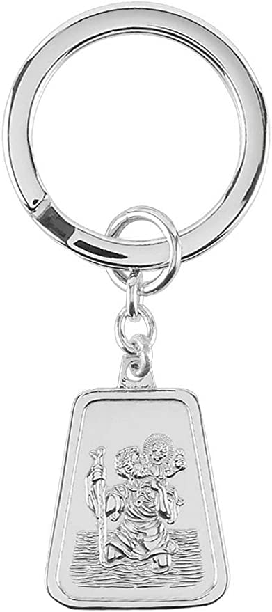 Orton West Unisex St Christopher Key Ring Silver