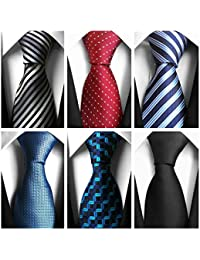 New Men's Neckties 6 Pack Classy Neck tie for Men Woven Jacquard Ties