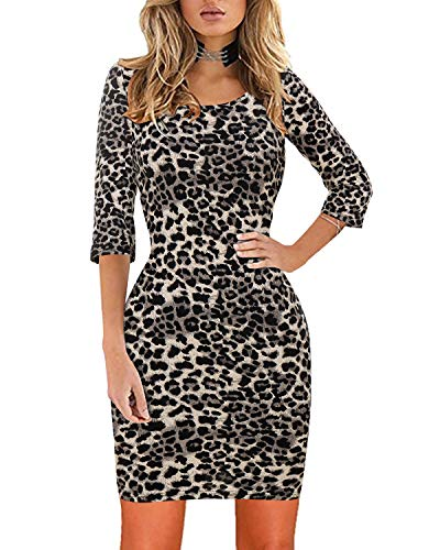 (Womens Floral Bodycon Dress Casual Scoop Neck 3/4 Sleeve Mini Pencil Dresses Gray Leopard)