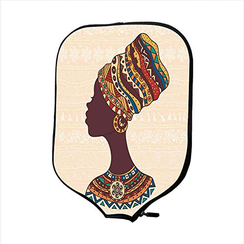 iPrint Neoprene Pickleball Paddle Racket Cover Case,Tribal Decor,African Woman in Traditional Ethnic Fashion Dress Portrait Glamour Graphic,Cream Brown,Fit for Most Rackets - Protect Your Paddle