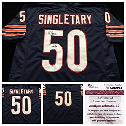 online store ac4c1 68f9d Mike Singletary Chicago Bears Signed Autograph Blue Jersey ...