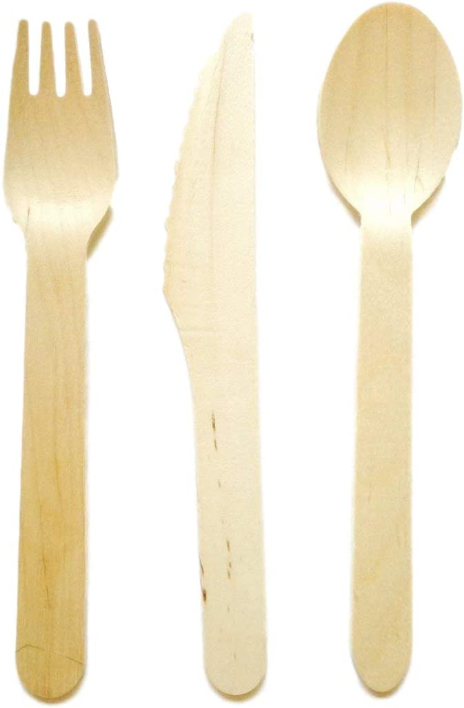 Wooden Disposable Cutlery KNIVES FORKS SPOONS Biodegradable Eco Party Bulk